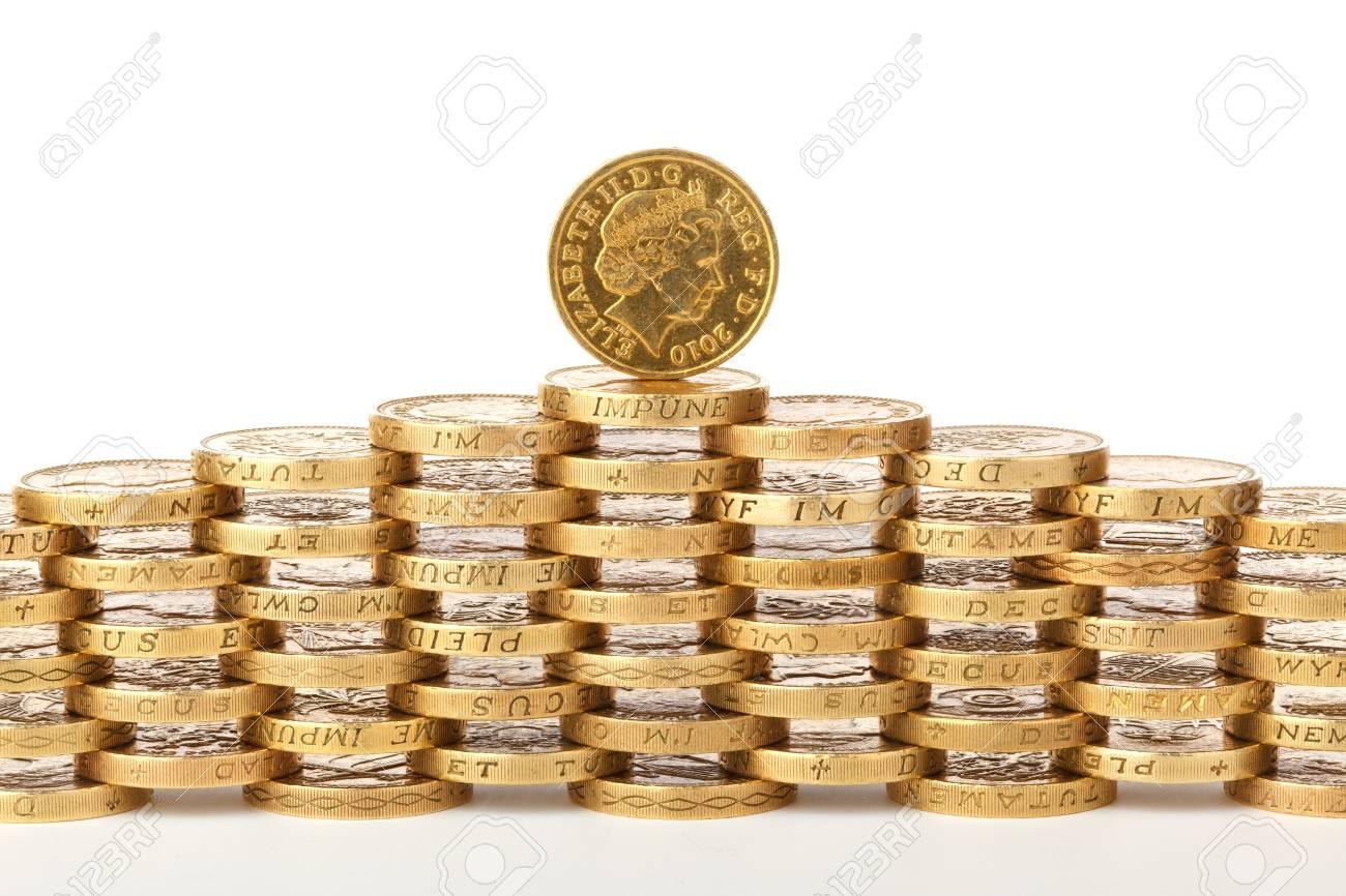 Britische Pfund Münzen Einander Gestapelt Lizenzfreie Fotos Bilder
