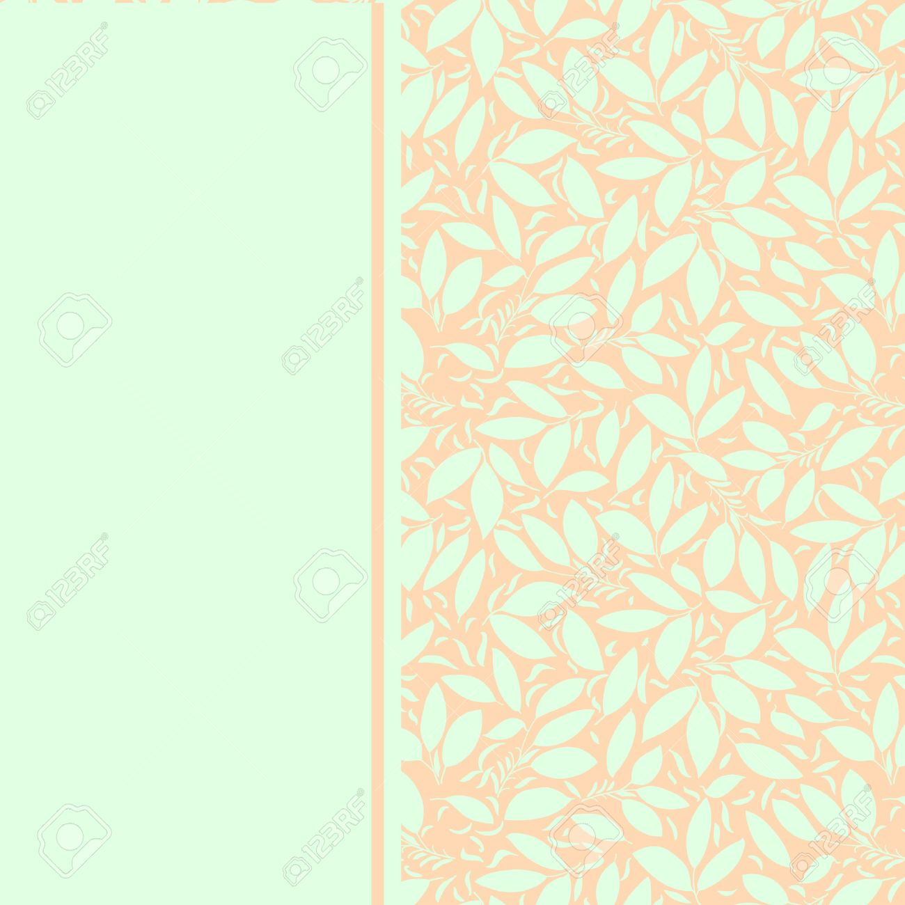 Card With Plant Ornament Pastel Mint Color On A Peach Color Royalty Free Cliparts Vectors And Stock Illustration Image 26693255
