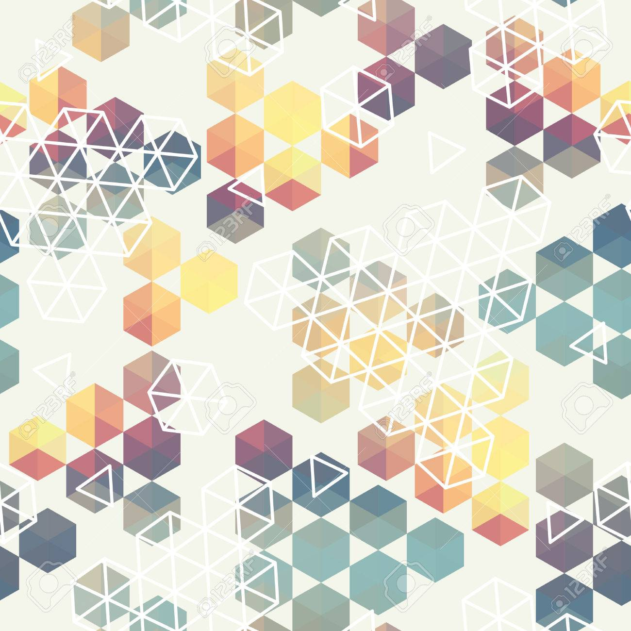 Geometric Pattern Of Hexagon Triangle. Full Color Seamless Texture . Use As  A Banner ,