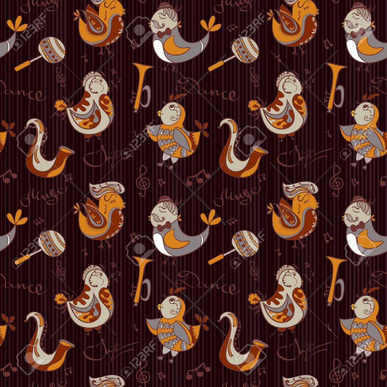 漫画 ジャズ オーケストラの壁紙のコンセプト 鳥歌うと踊る 壁紙 パターンの塗りつぶし Web ページの背景にシームレスなパターンを使用することができます のイラスト素材 ベクタ Image