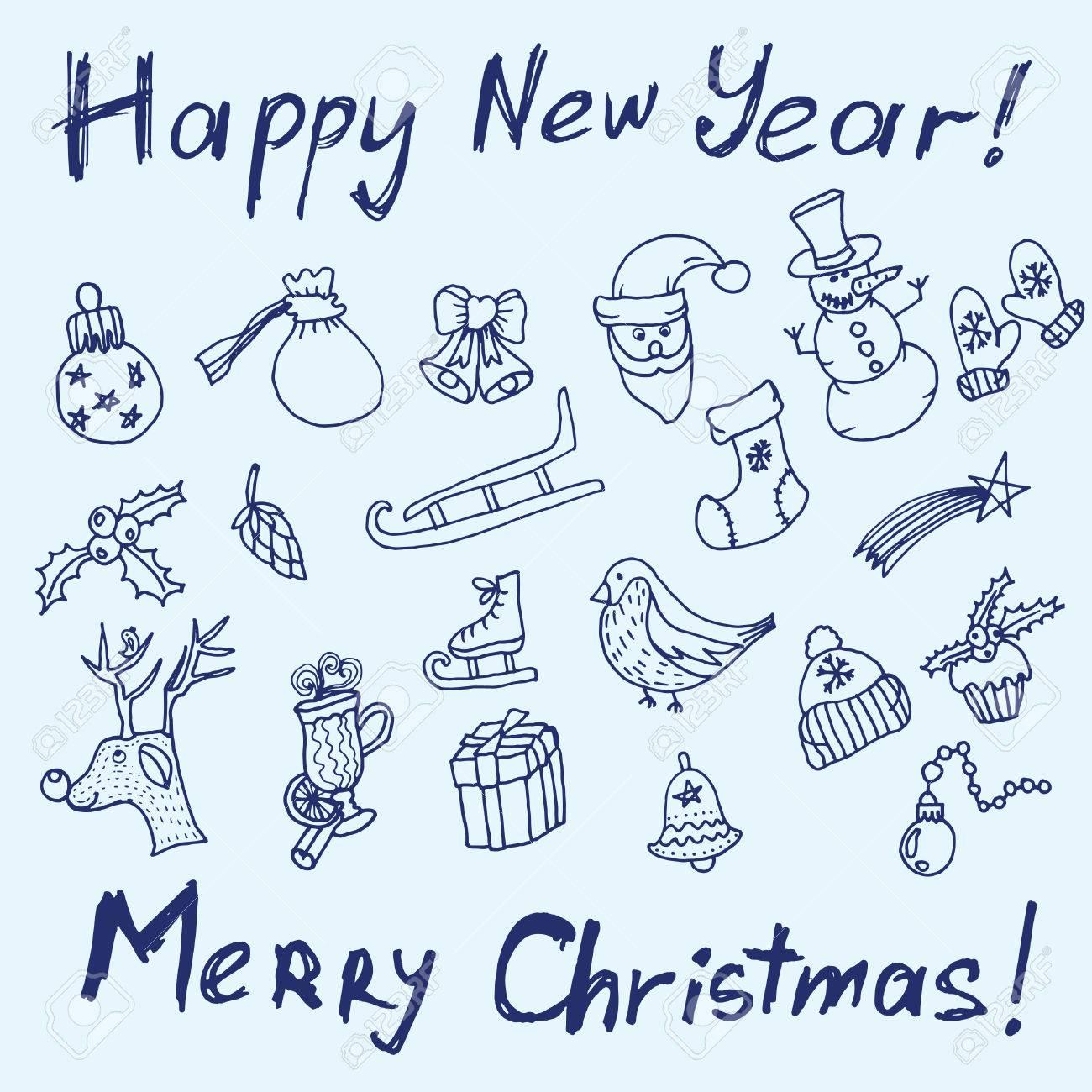 Weihnachten Skizze. Schrift Und Druck. Herzlichen Glückwunsch Zum ...