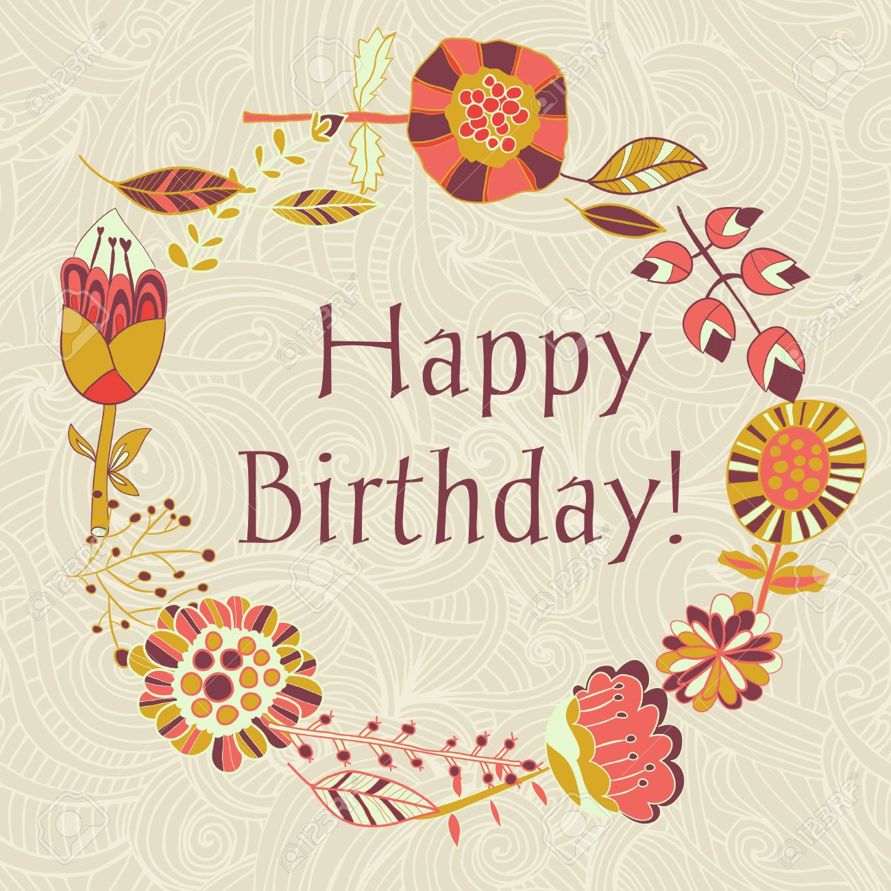 Happy Birthday Greeting Card Circle Floral Frame With Cute Cartoon