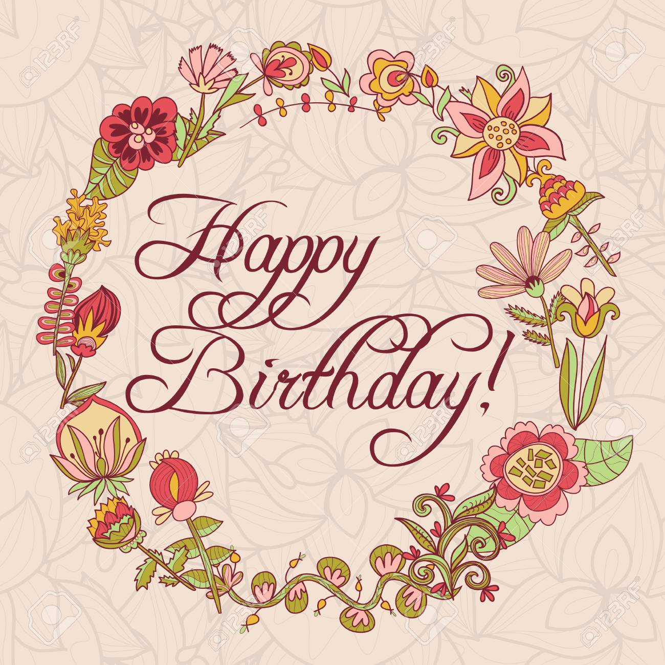Joyeux Anniversaire Carte De Voeux Cadre Cercle Floral Avec Des Fleurs De Dessin Animé Mignon