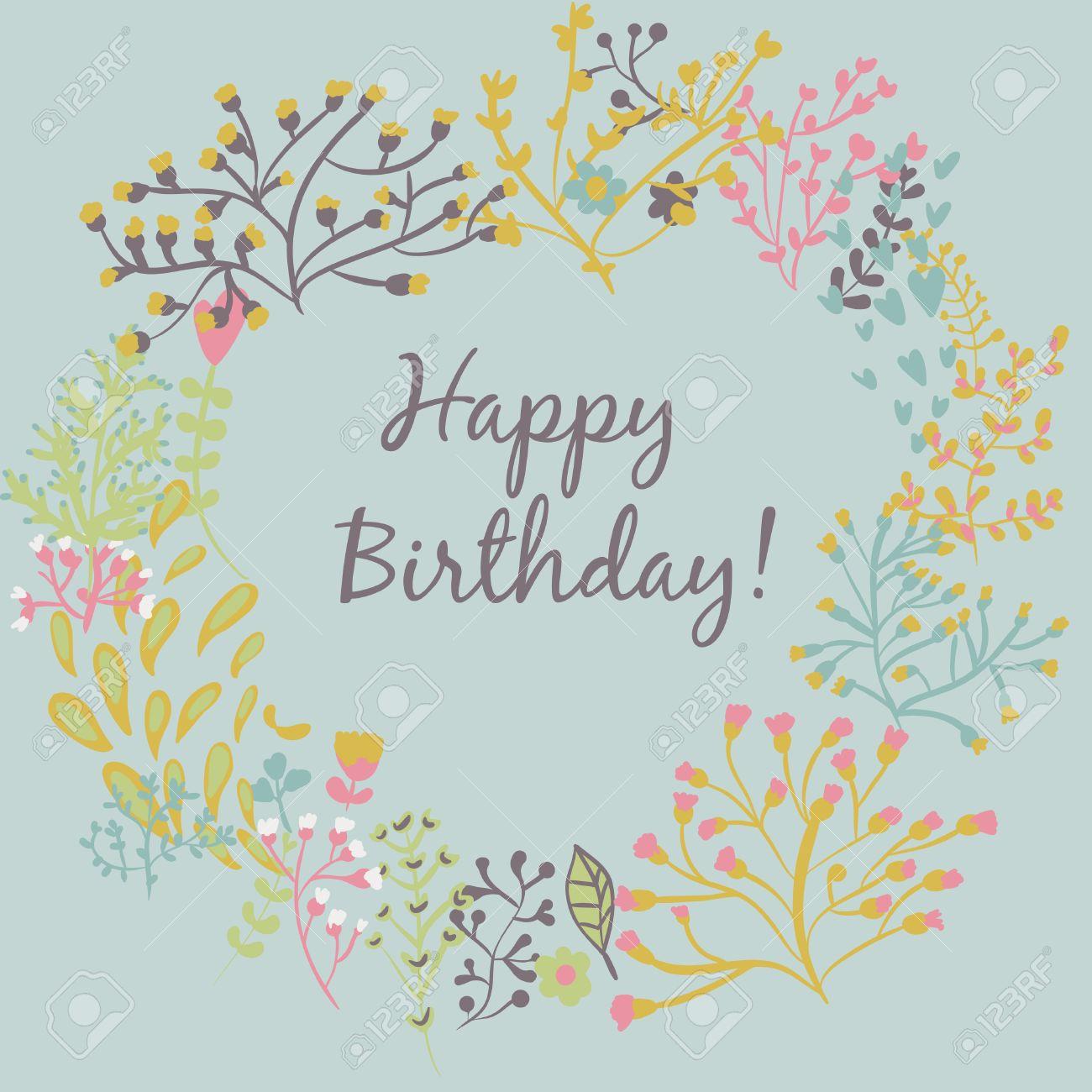 Banque dimages , joyeux anniversaire carte de voeux. cadre cercle floral avec des fleurs de dessin animé mignon
