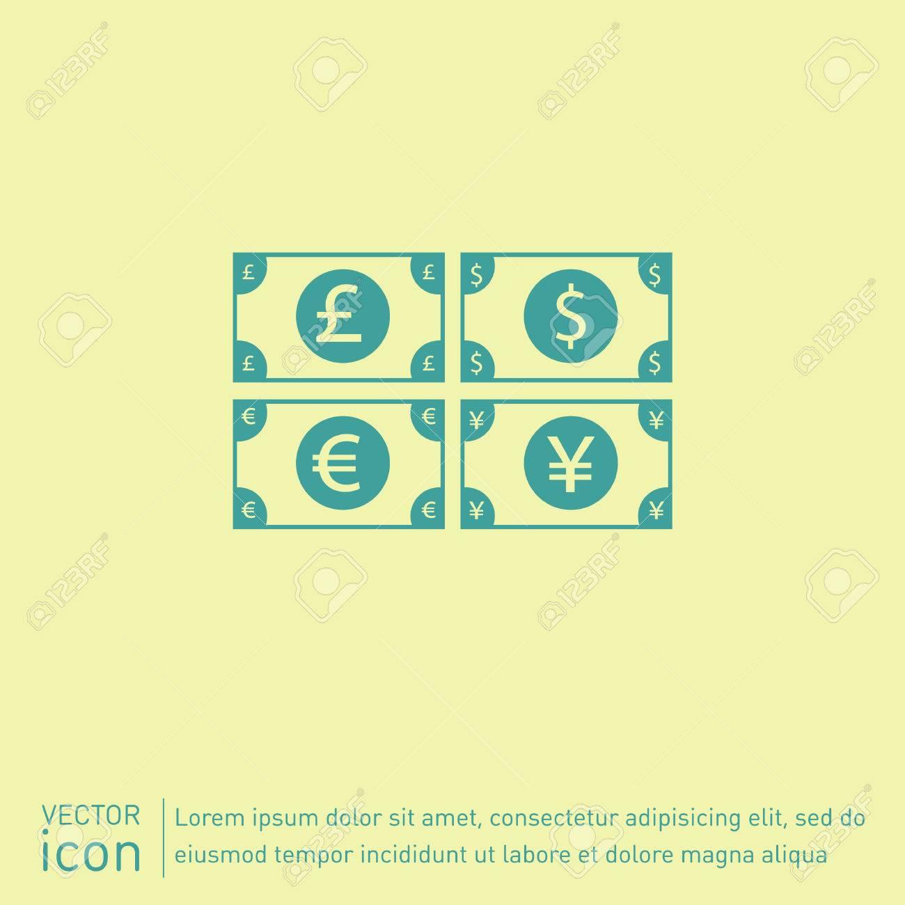 Money Bill Sign Symbol Icon Dollar Pound Sterling Japanese