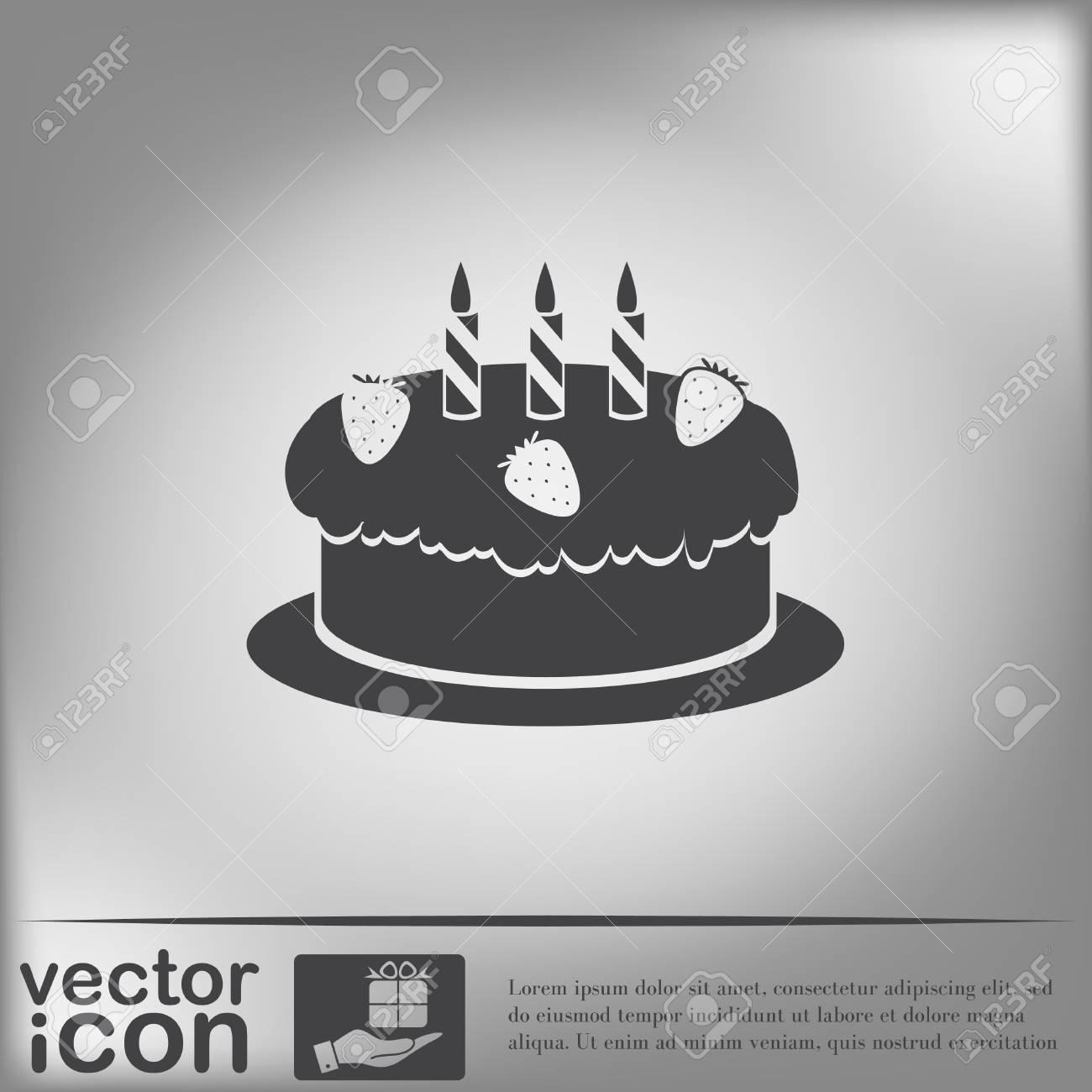 Birthday Cake Icon Symbol Of Cake Celebrating The Birthday