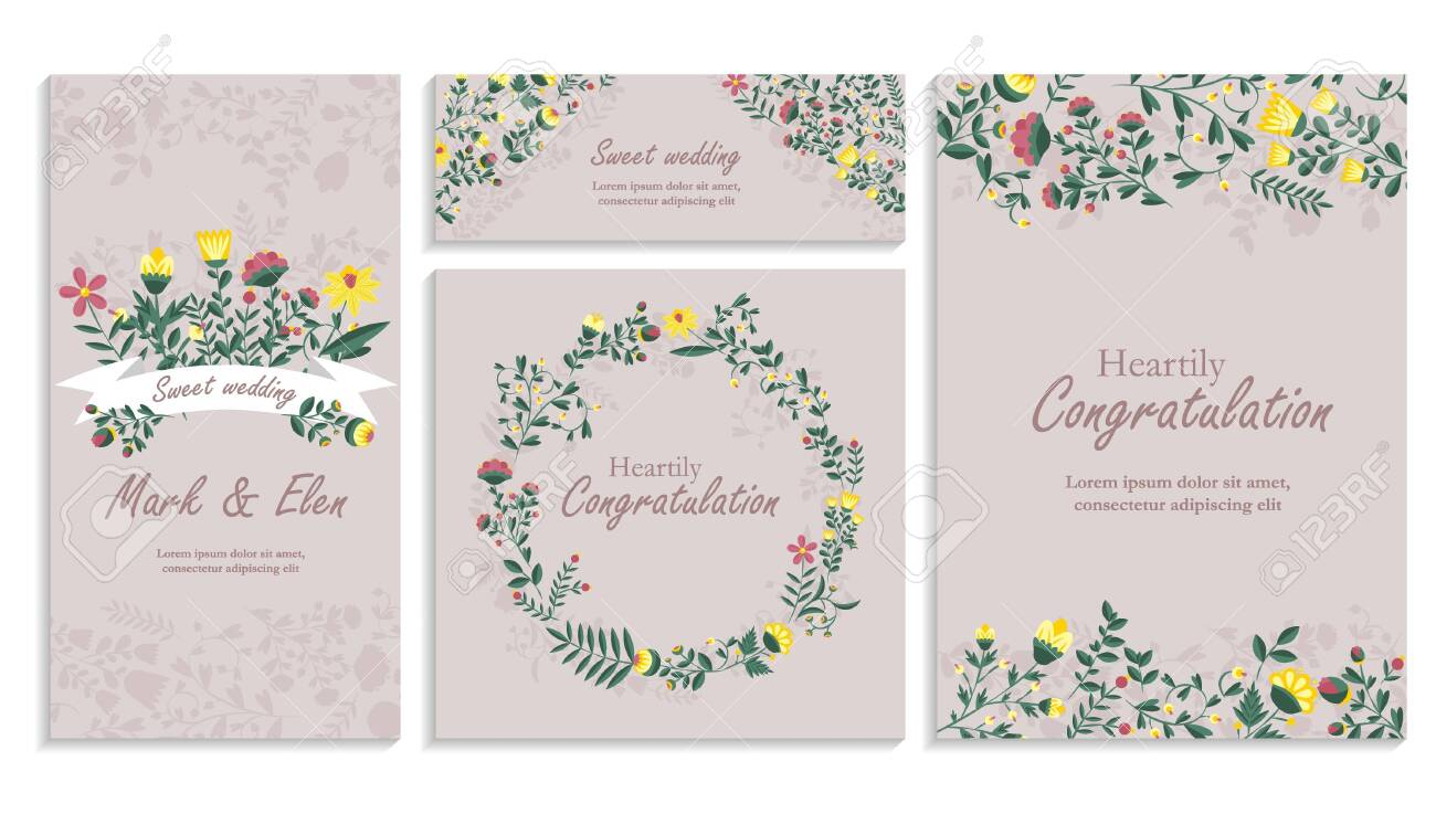 Set of greeting card wirh floral decor. Heartily congratulation, wedding Invitation, floral invite, decorative wreath & frame pattern. Cards save your date card with an elegant garden plant - 144398486