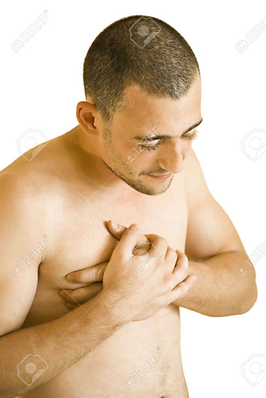 young man having pain in his chest Stock Photo - 7496401