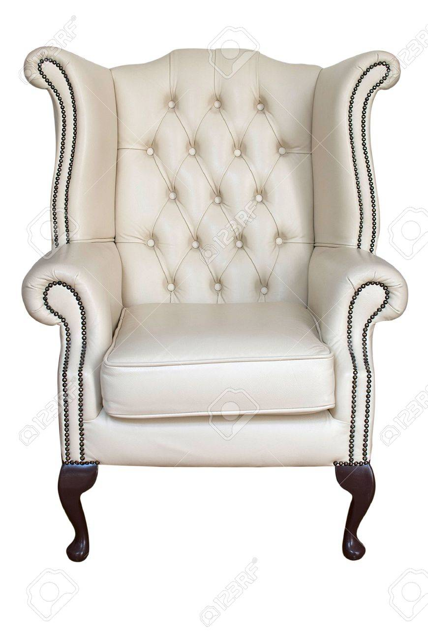 Merveilleux Antique Cream Leather Armchair Isolated On White Stock Photo   14394028