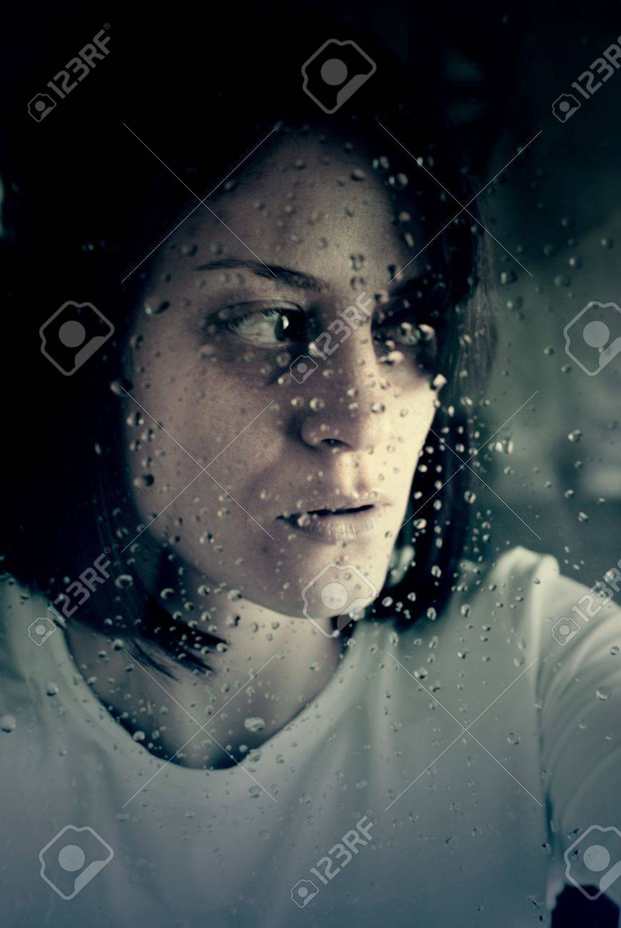 conceptual portrait of stressed abused young woman Stock Photo - 19877994