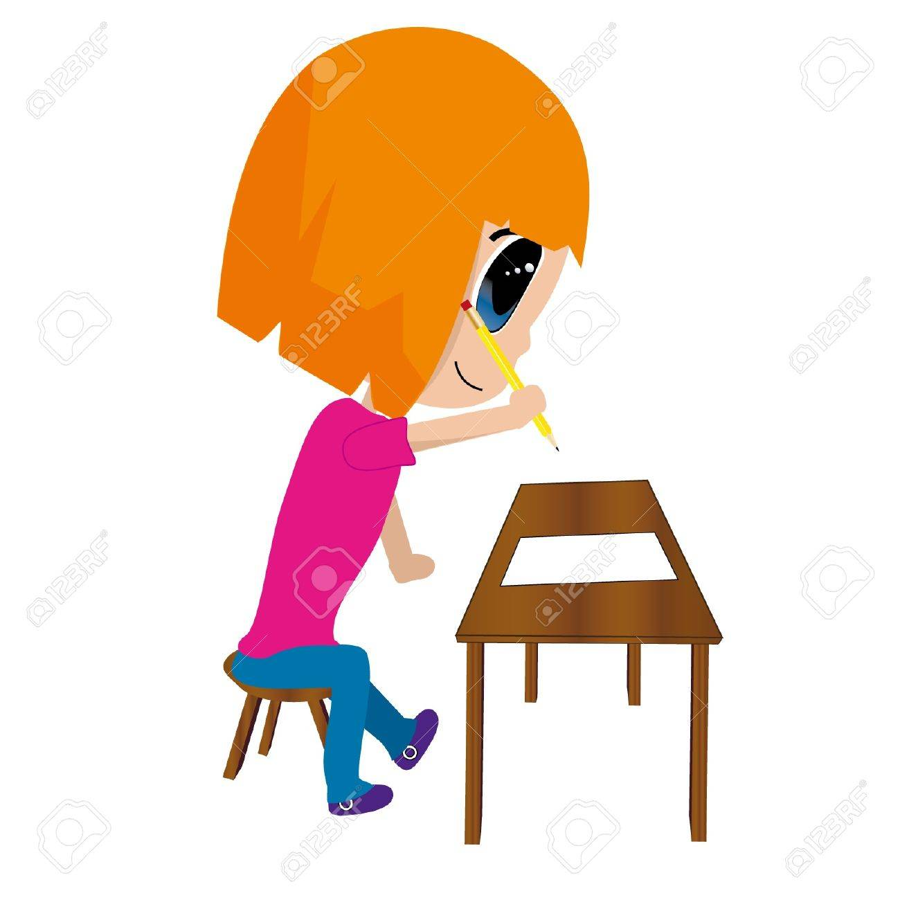isolated of girl writing Stock Vector - 15408470