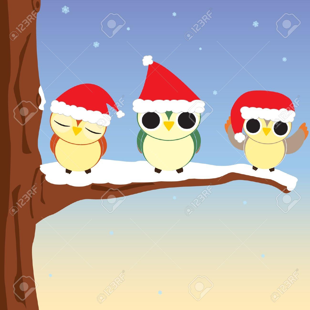 Vector illustration of three owls at Christmas Stock Vector - 16189525