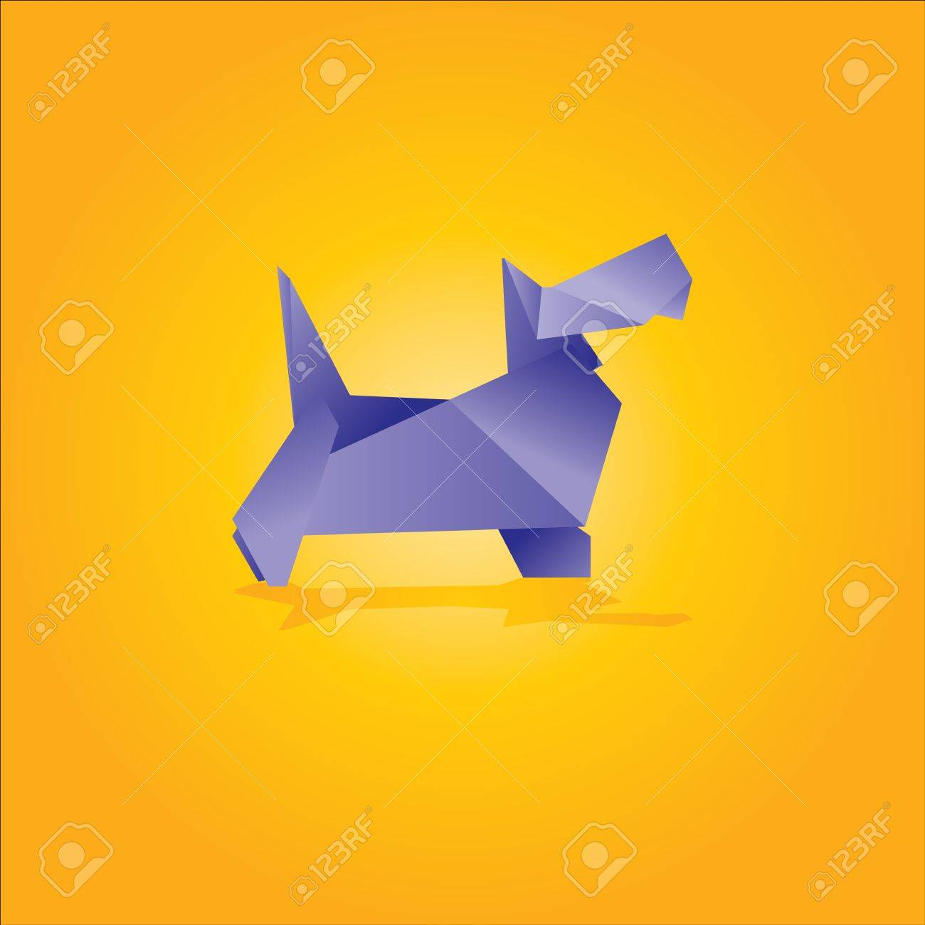 Origami dog face how to origami - Origami Dog Vector Illustration Of An Origami Dog