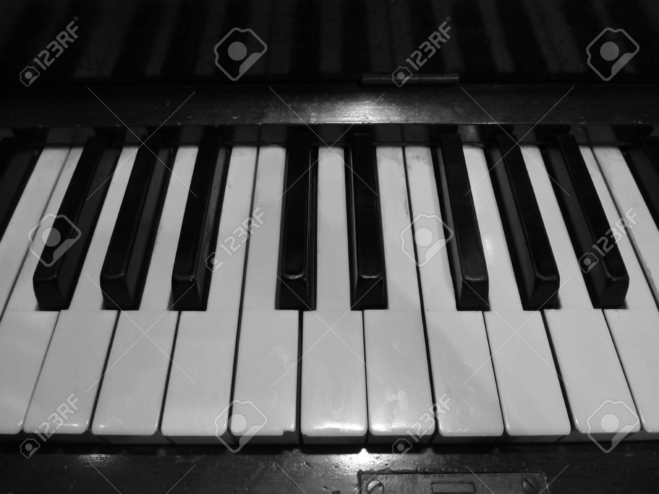Black and white photo of piano keys stock photo 36762143