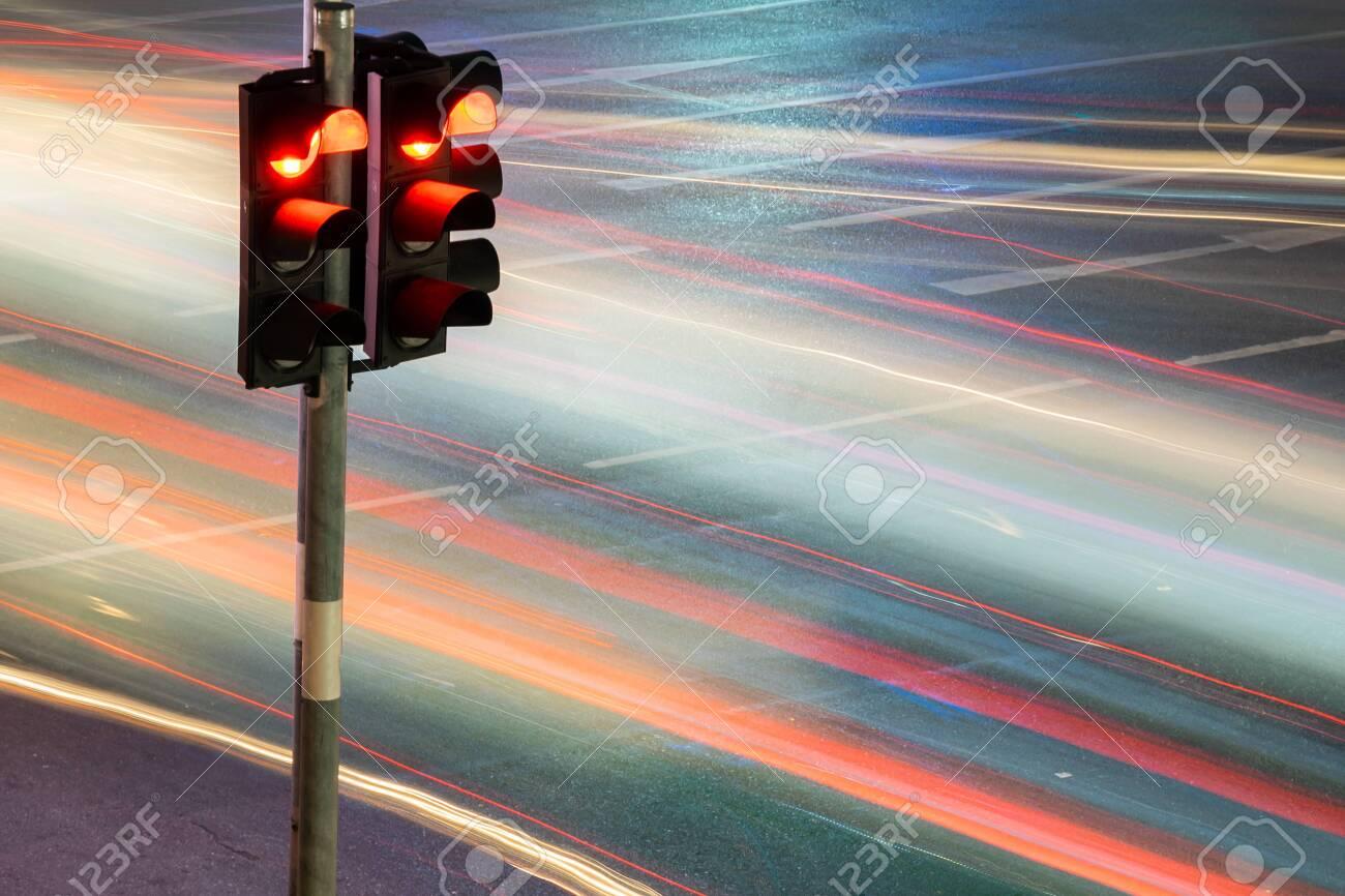 Traffic light with long exposure night in Bangkok, Thailand. - 122205559