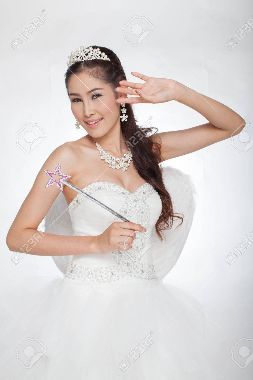 Portrait Beautiful Asian Woman In White Wedding Dress With Fairy ...