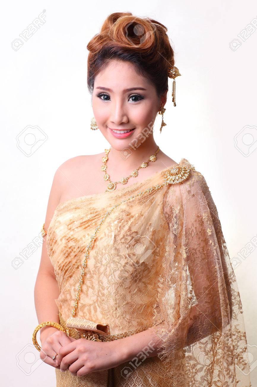 Portrait Beautiful Bride In Thai Traditional Costume Studio Light Stock Photo