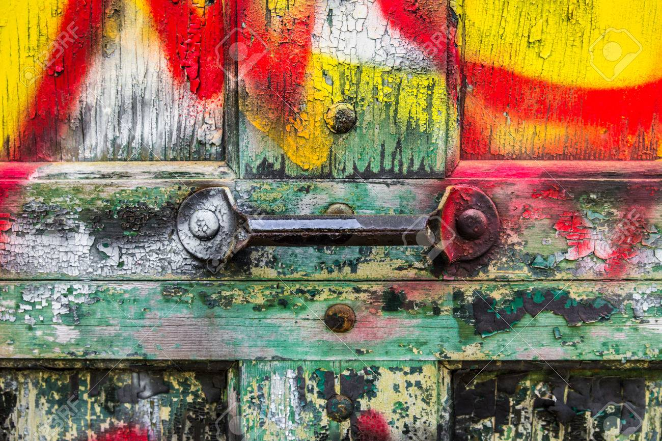 Grunge Garage Door With Handle And Graffiti Stock Photo Picture And