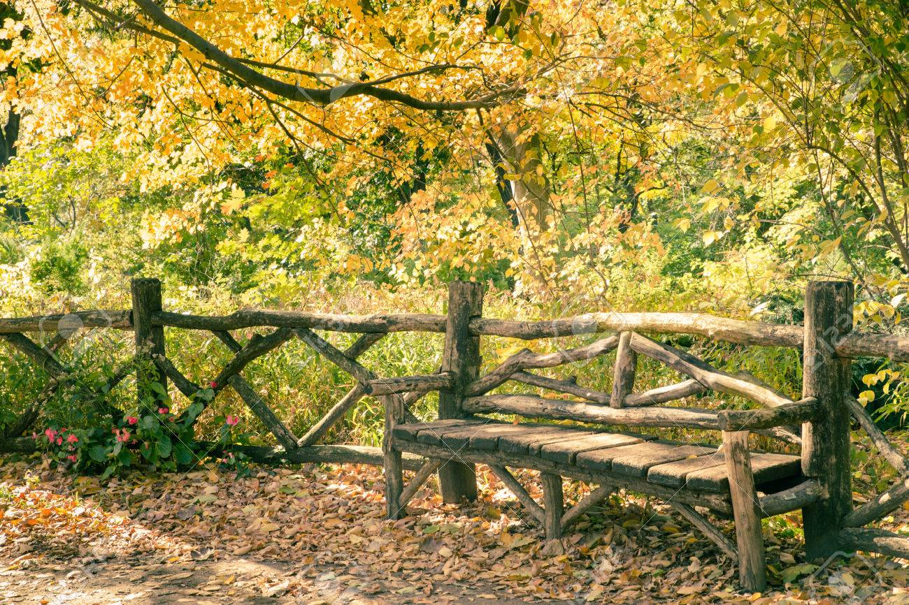 Rustic Wood Bench Central Park Ny Stock Photo Picture And Royalty