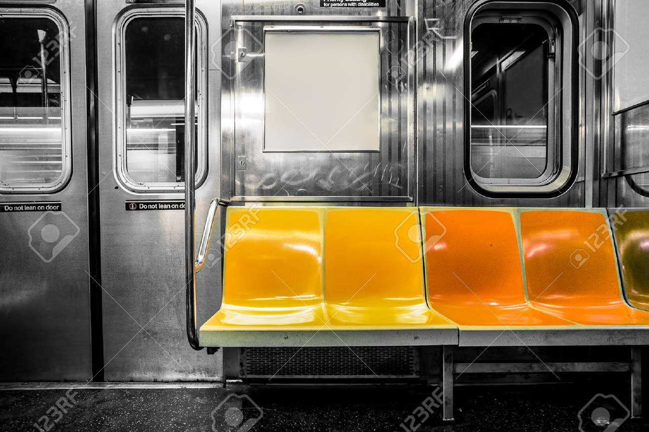 New York City Subway Car Interior With Colorful Seats Stock Photo