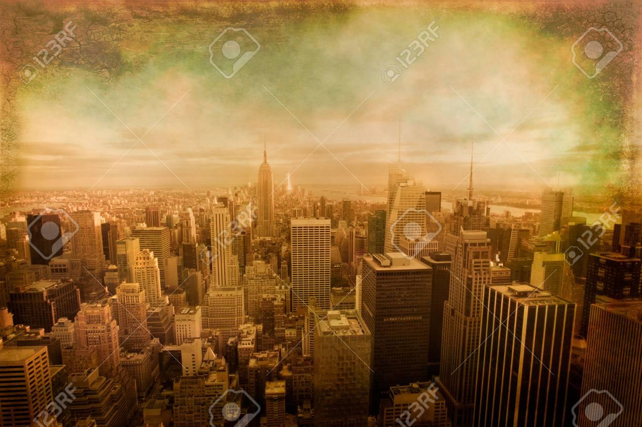 Vintage Texture View Of New York City Skyline View Across Manhattan ...