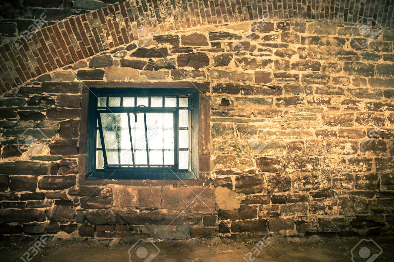 Rough Stone Interior Wall With Grunge Window Stock Photo   90191264