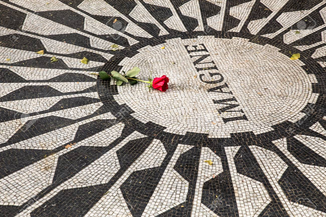John Lennon Imagine Memorial In Central Park New York City With A Red Rose