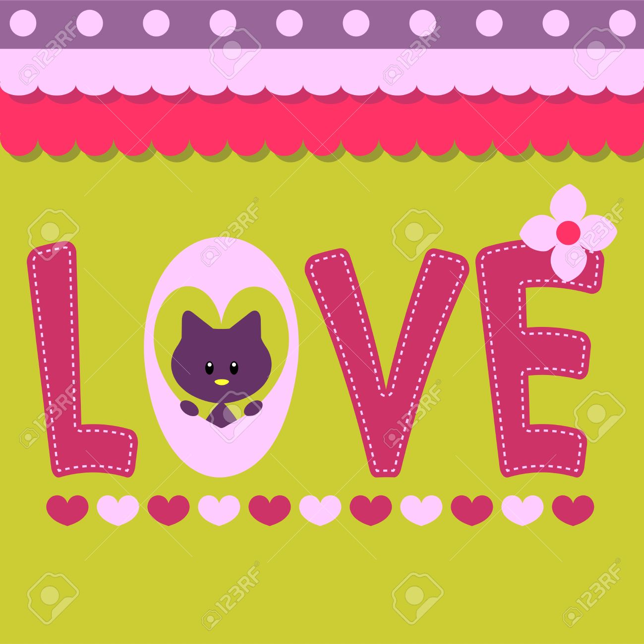 Love card with text and cute kitty Stock Vector - 15638226