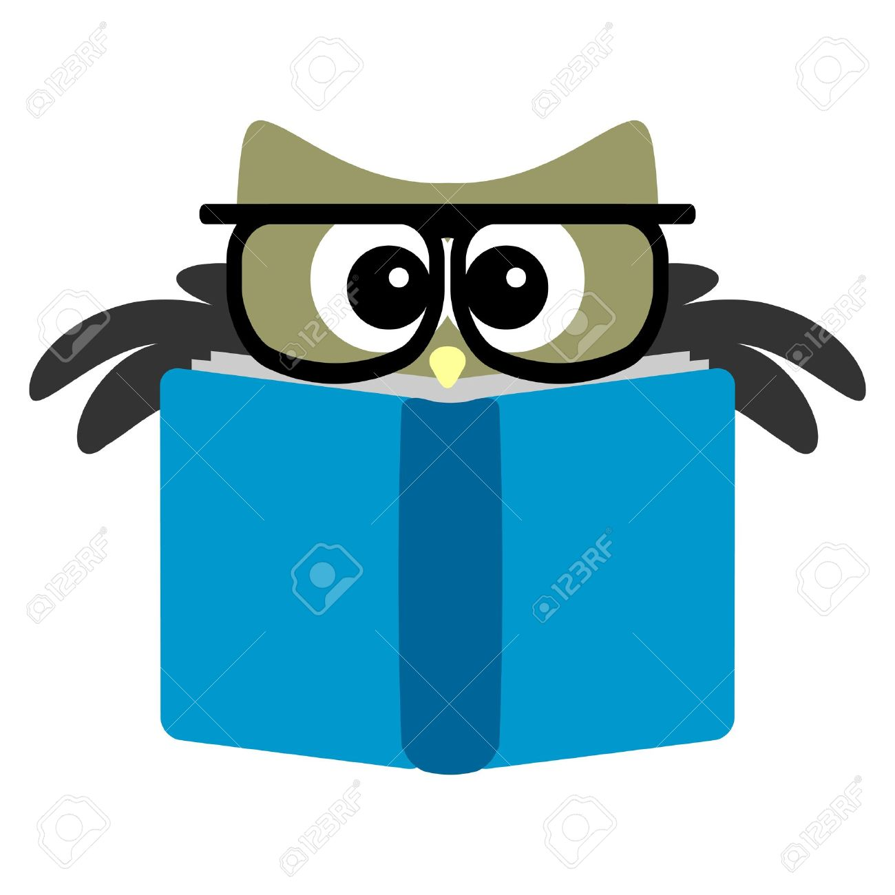 Funny owl reading a book Stock Vector - 15637917