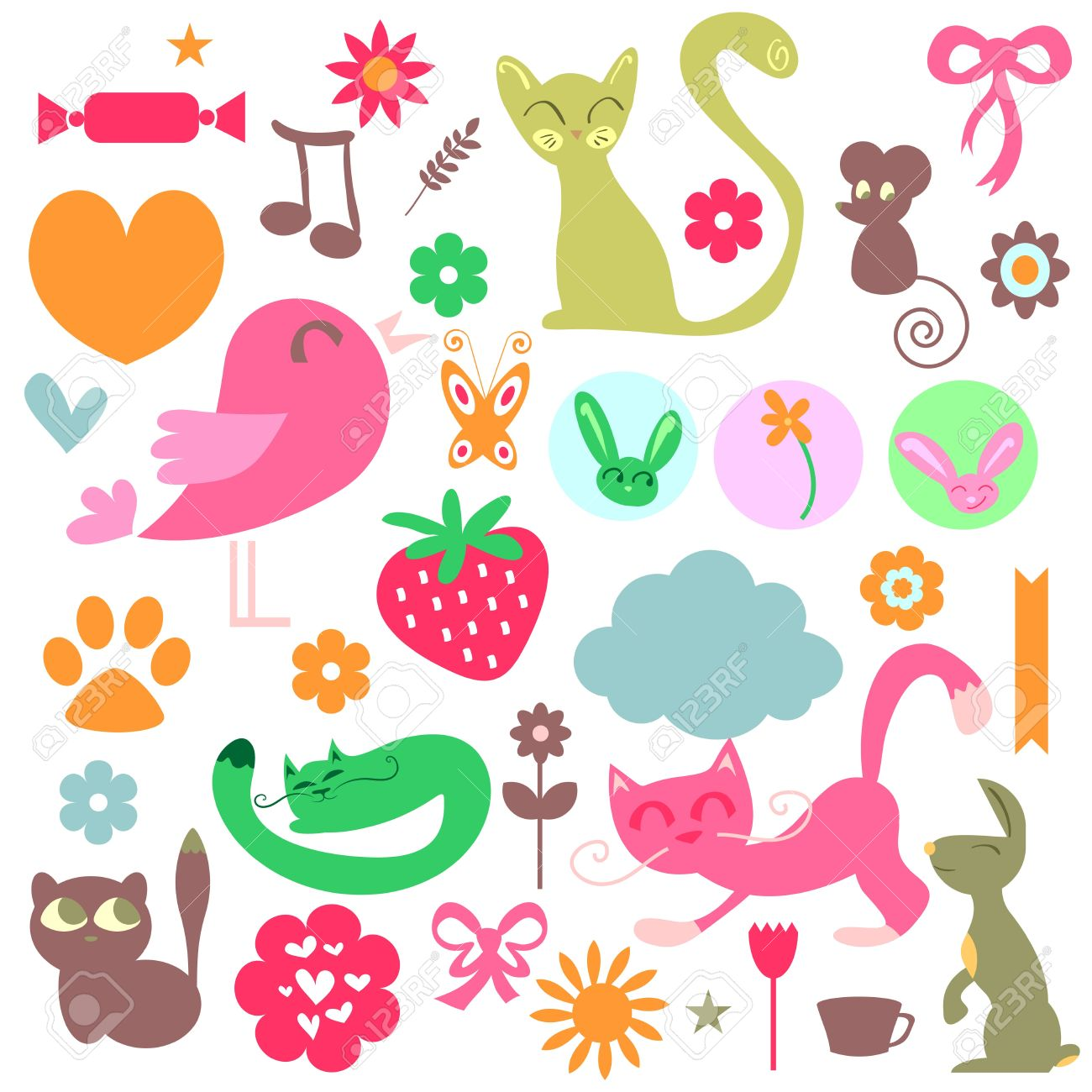 Babyish elements cute animals and objects set Stock Vector - 15638350