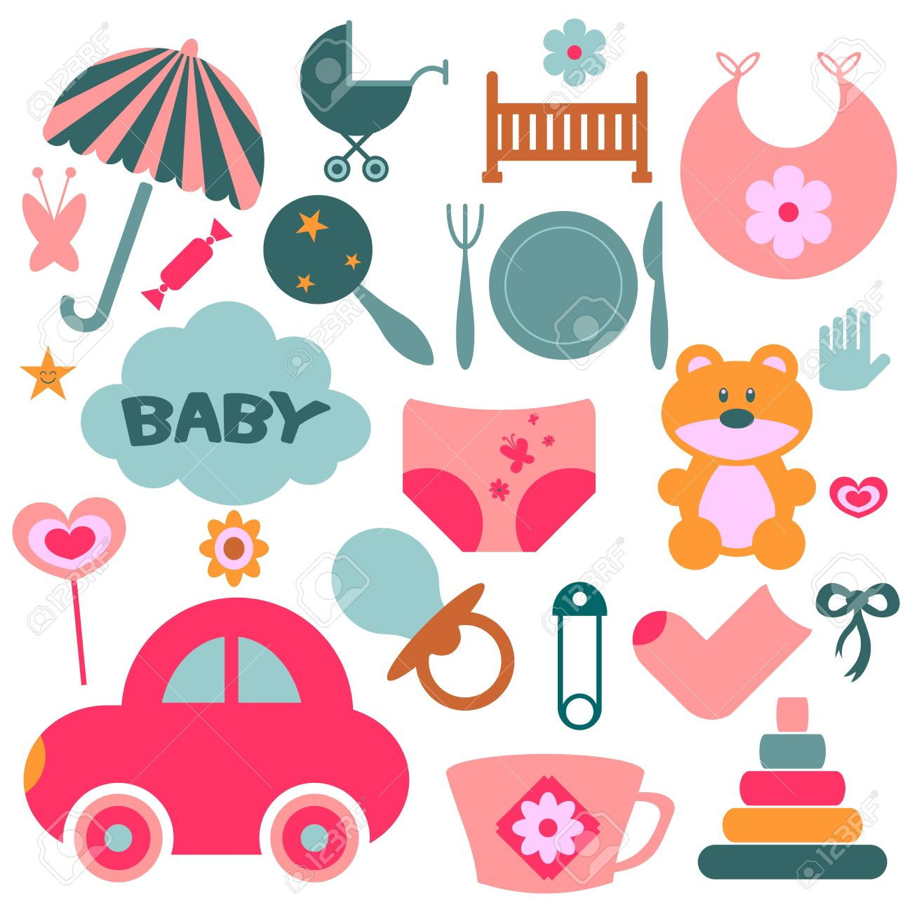 Set of design elements for babies Stock Vector - 15637654
