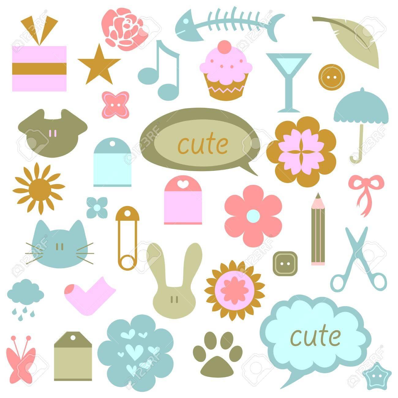 A set of cute babyish elements Stock Vector - 15638344