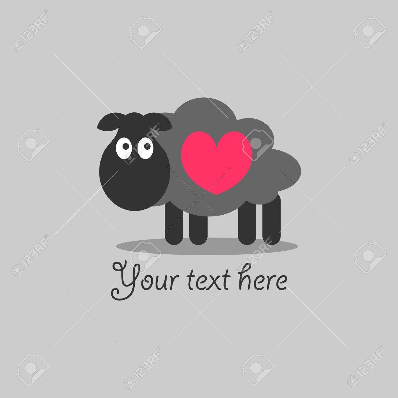Cute romantic card with lamb Stock Vector - 15672763