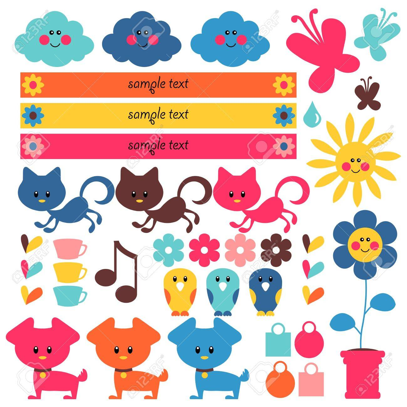 A Set Of Cute Elements For Kids Royalty Free Cliparts, Vectors ...