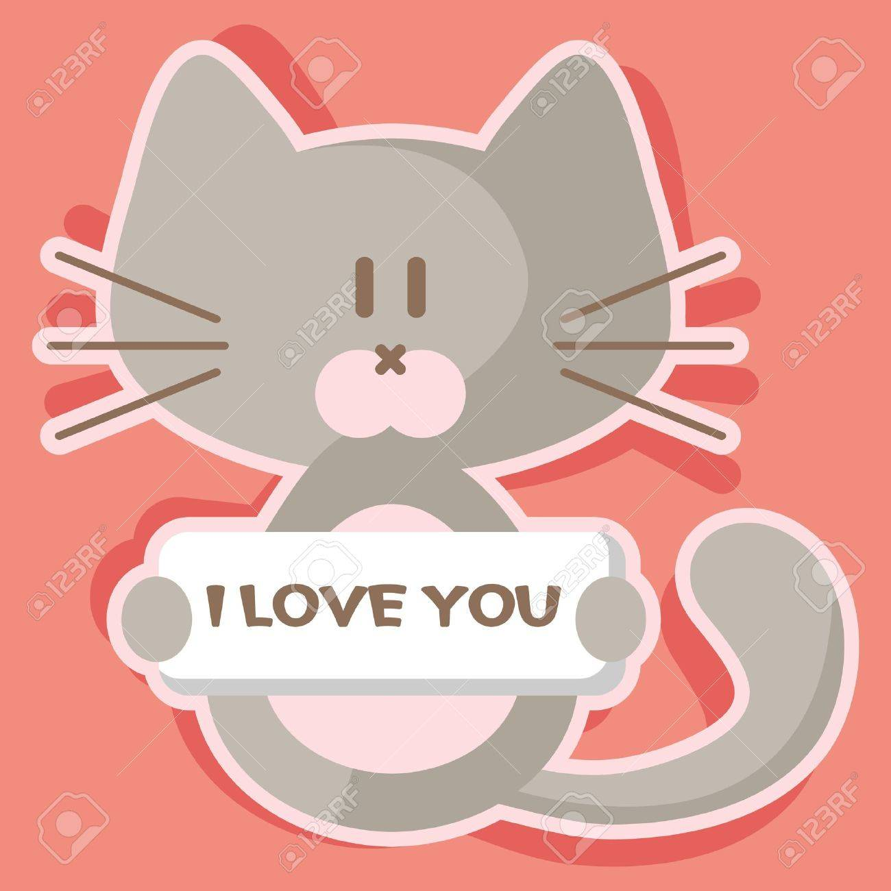 Cute Kitten Romantic Valentine Card Royalty Free Cliparts Vectors – Romantic Valentine Card Images