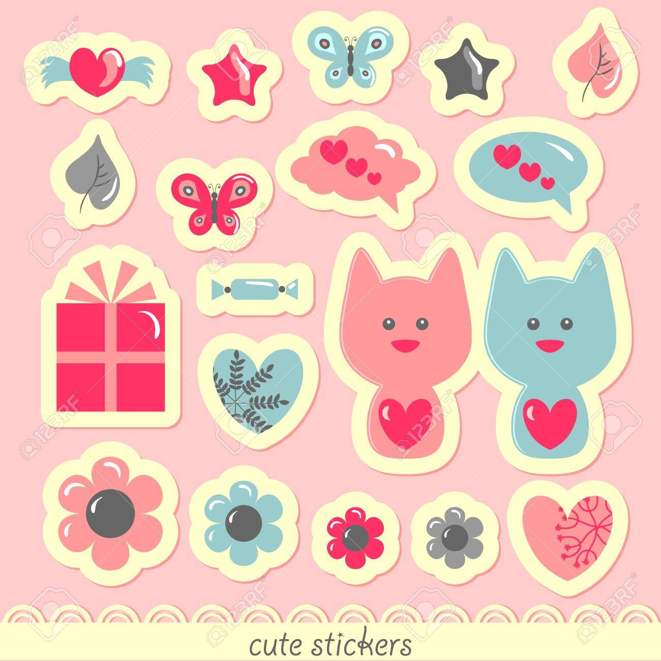 Sweet romantic stickers Stock Vector - 15672902