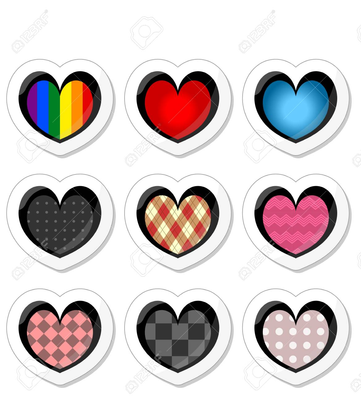 Beautiful stickers with hearts stock vector 15673050