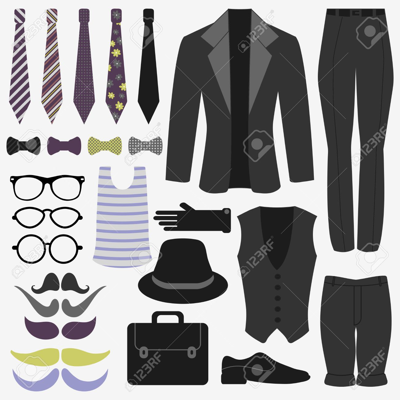 Set Of Men's Clothing And Accessories Hipster Style Royalty Free ...