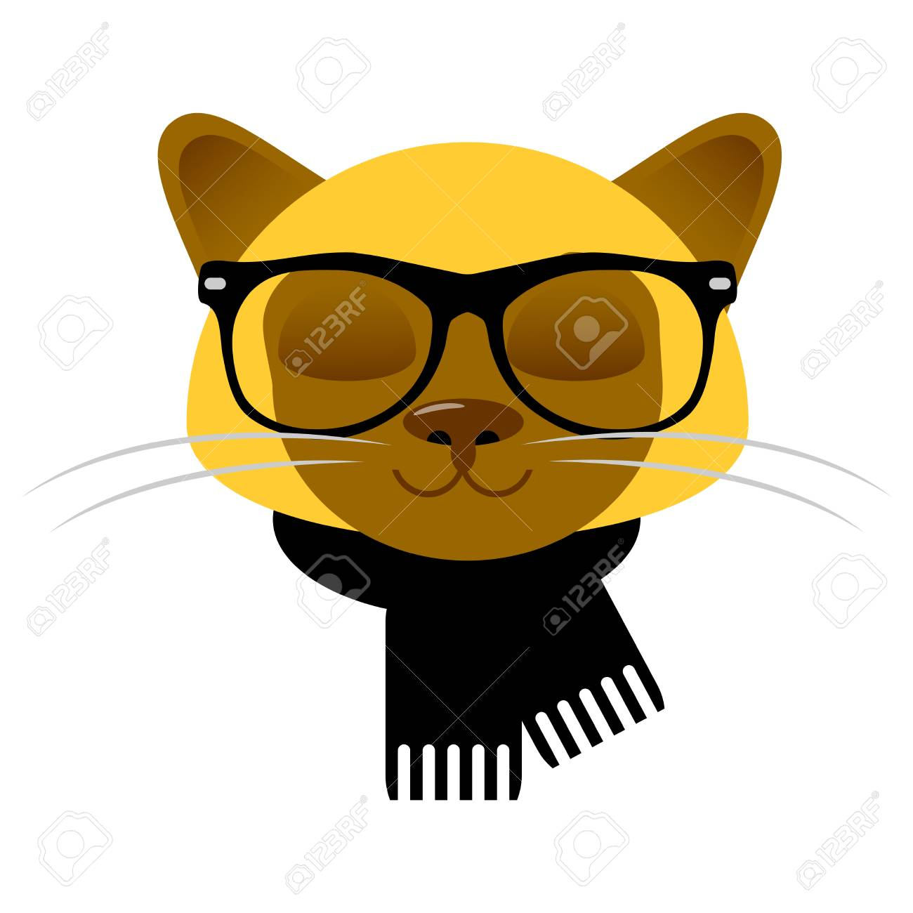 Vettoriale Scheda Con Cute Faccia Gatto Siamese In Bicchieri E