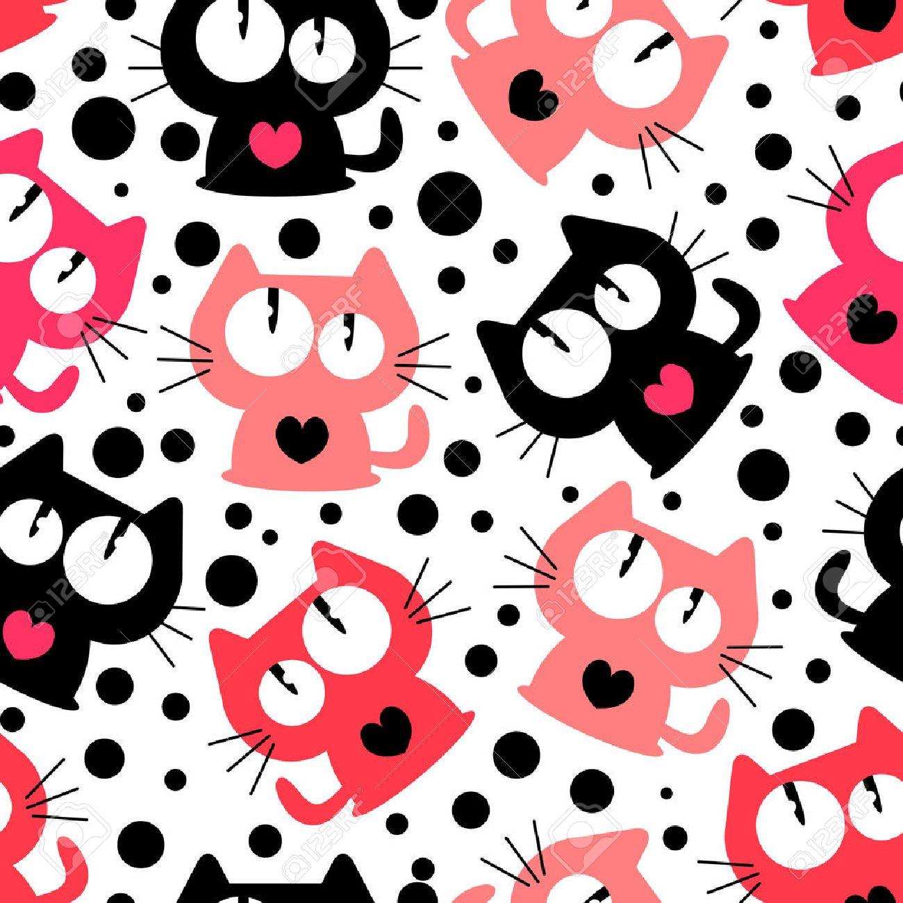Patrón Sin Fisuras Con Los Gatos Lindos Divertidos Dibujos Animados ...