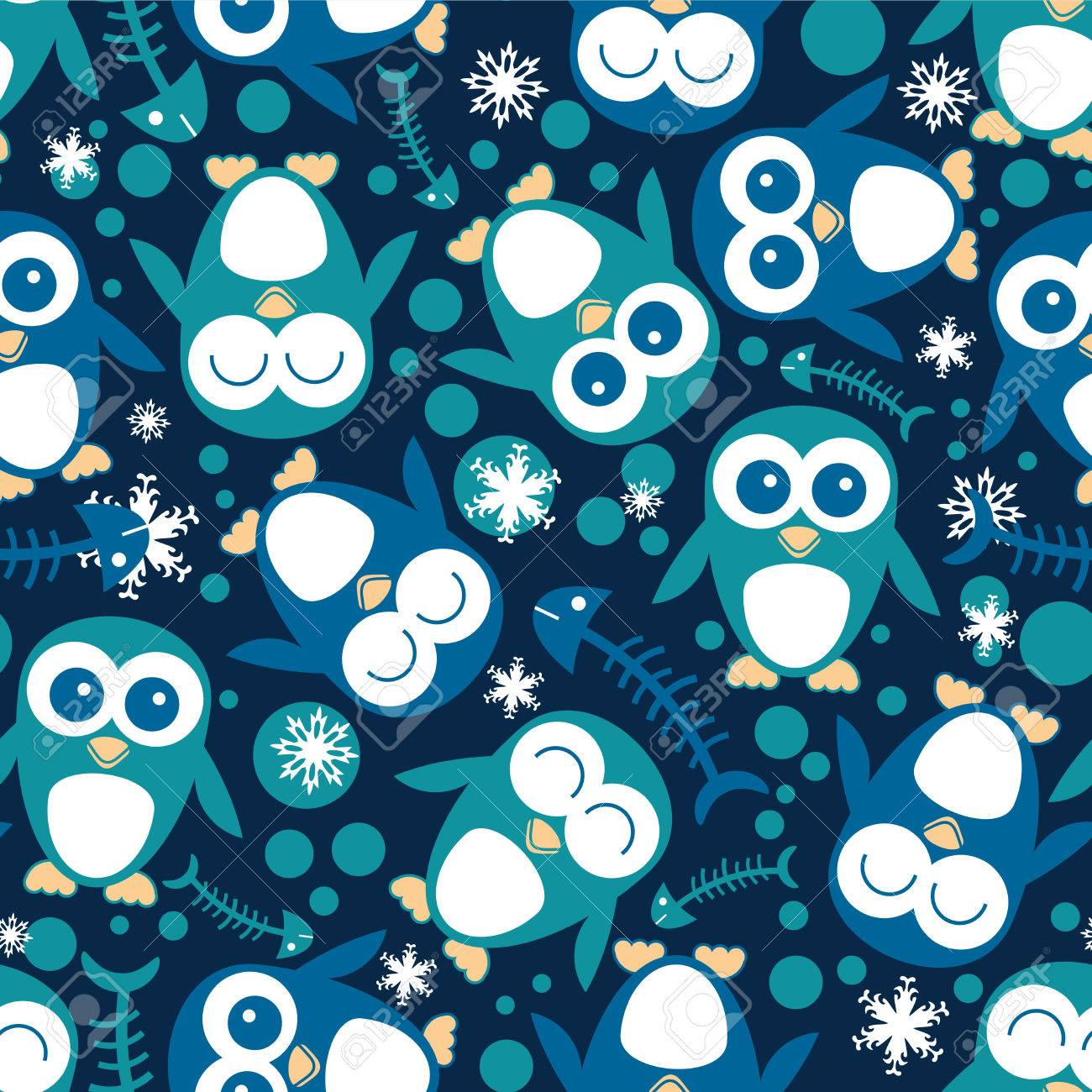 Seamless pattern with cute penguins Stock Vector - 28927034
