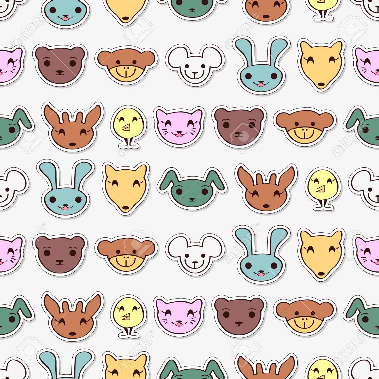 かわいい動物とのシームレスなパターン ベクトル壁紙 パターンの塗りつぶし Web ページの背景のシームレスなテクスチャに直面しています のイラスト素材 ベクタ Image