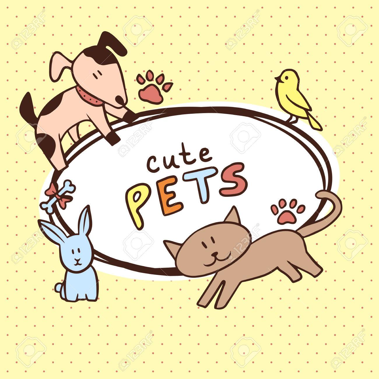 Banner With Cute Pets Dog Cat Rabbit Bird Royalty Free Cliparts Vectors And Stock Illustration Image 33396209