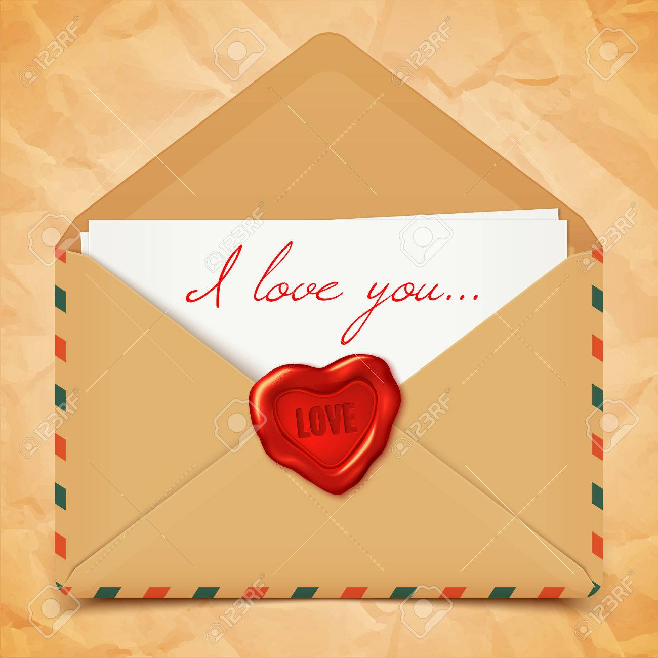 valentine postcard with old retro vector envelope with wax seal