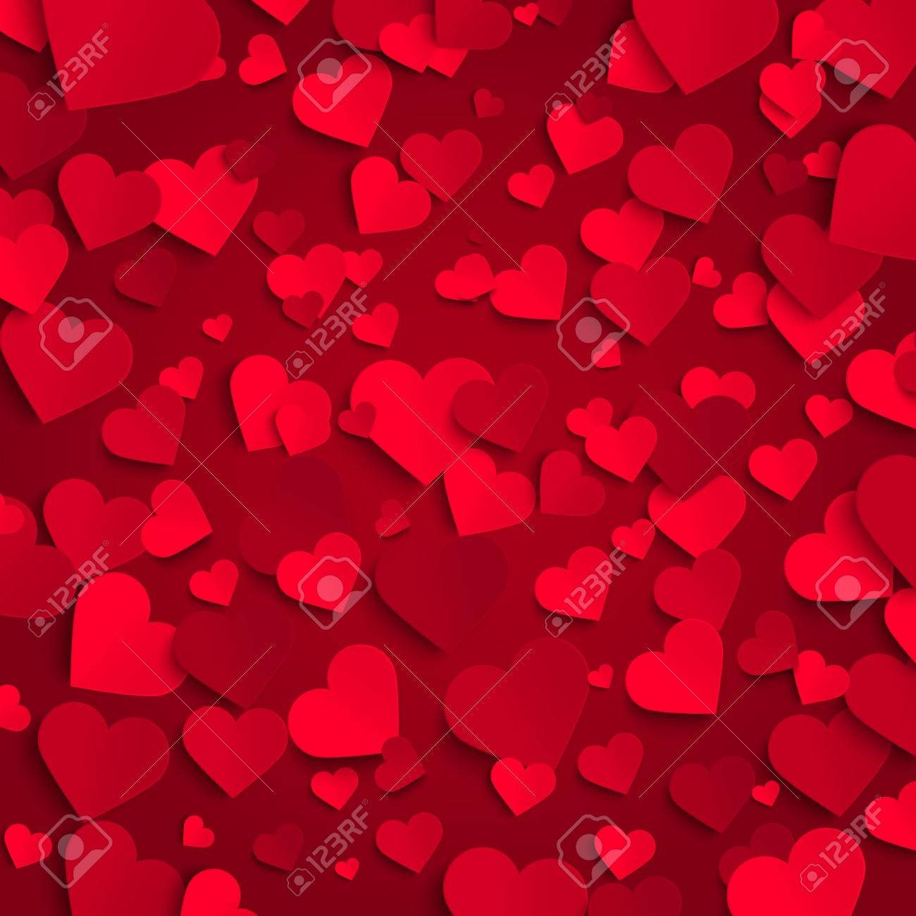 Valentine Vector Background Template, Red Paper Hearts On Red ...