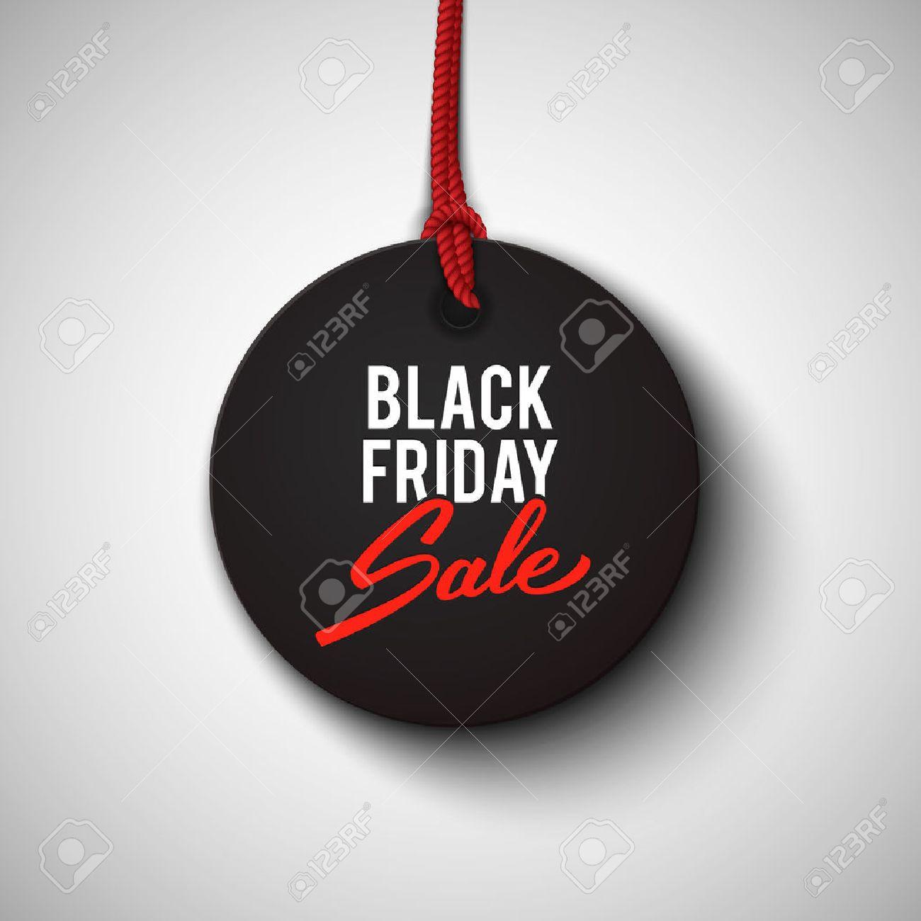 Black Friday sale black tag, round banner, advertising, vector illustration - 43948418