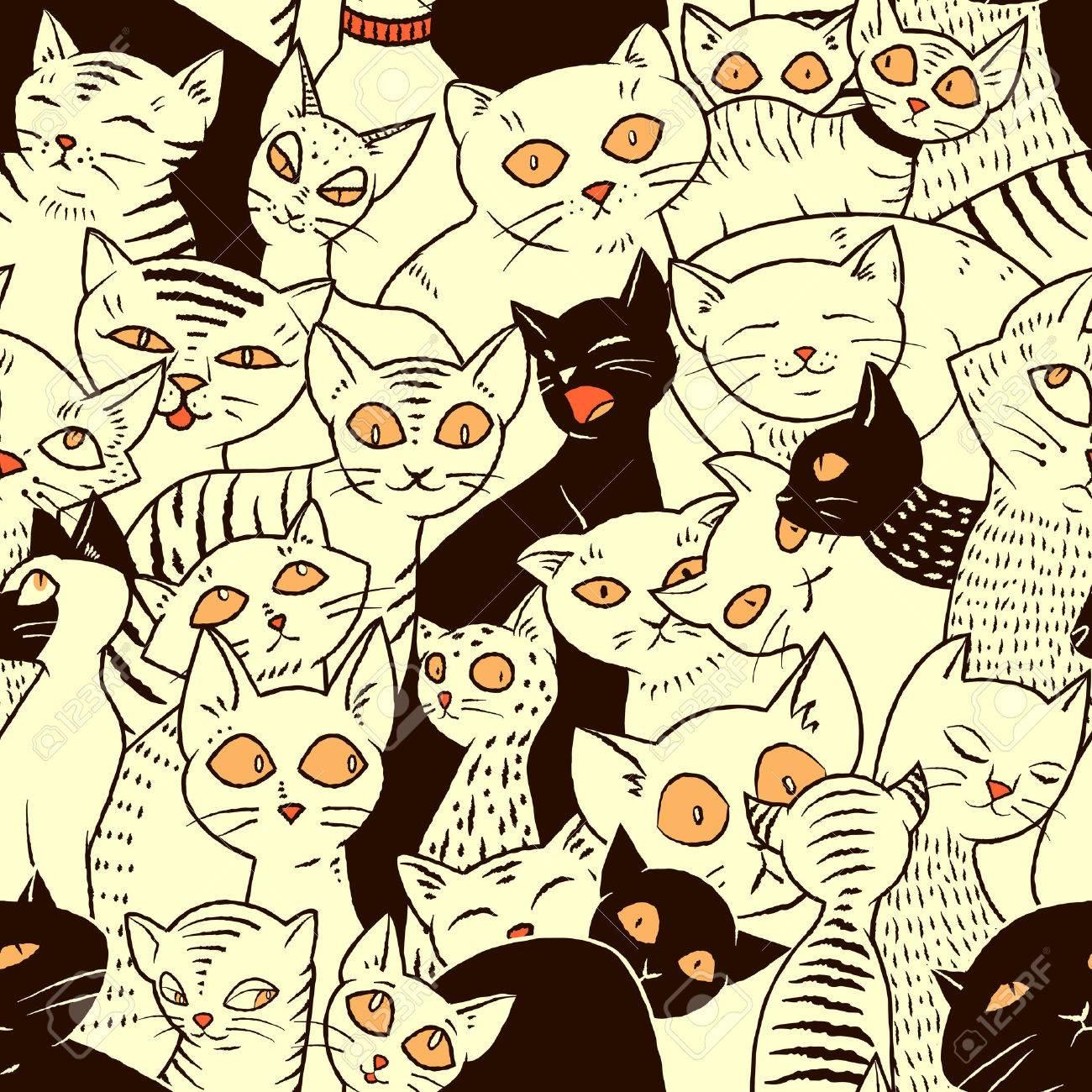 かわいい猫のシームレス パターン 壁紙のパターンの塗りつぶし Web ページの背景のイラスト素材 ベクタ Image
