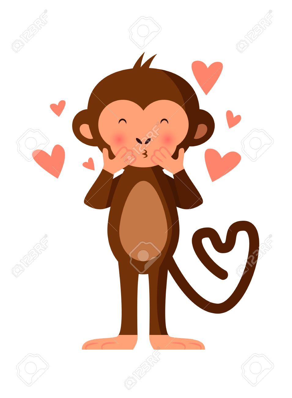 Cute Monkey Blowing Kisses Romantic Vector Illustration Royalty