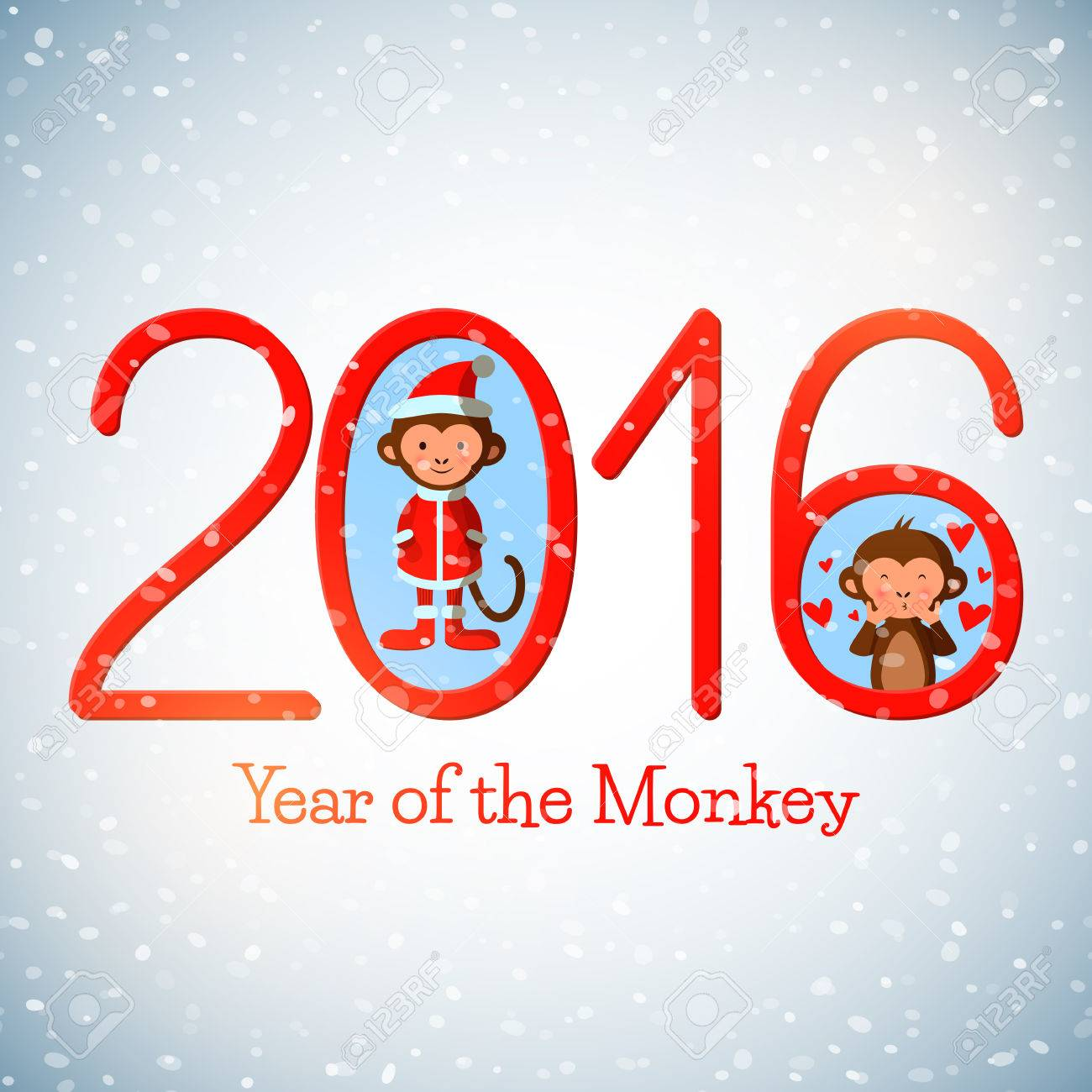 Happy New Year 2016 Cute Greeting Card With Funny Monkeys, Vector ...