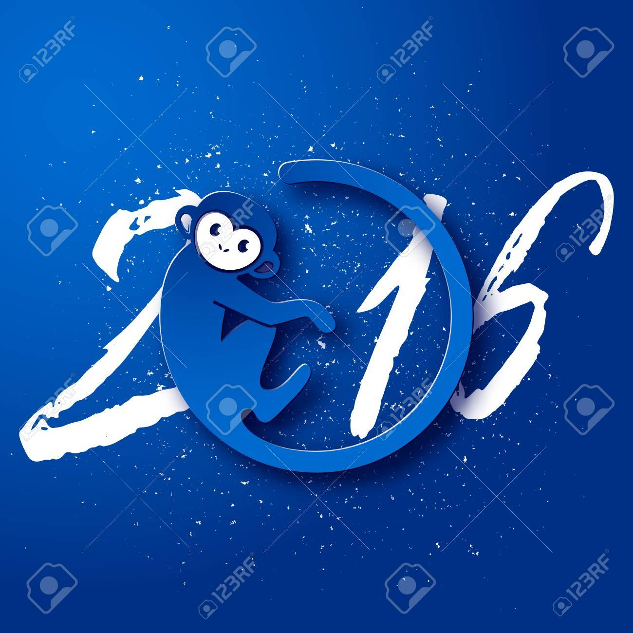 cute new year postcard with monkey symbol on blue background year of the monkey 2016